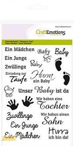 CraftEmotions Silikonstempel SET Texte BABY 1156 clear stamp,Taufe,Geburt