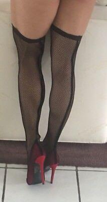 Thigh High Stiletto Heel Fishnet Open Toe  Stockings Red