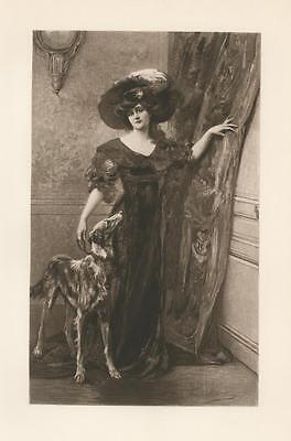 ANTIQUE GORGEOUS VICTORIAN WOMAN HAT DRESS SLOUGHI DOG PORTRAIT RARE ART PRINT
