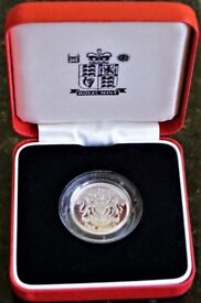 1998 Silver Proof PIEDFORT Coat of Arms One Pound Coin - As Issued by the Royal Mint - AS NEW