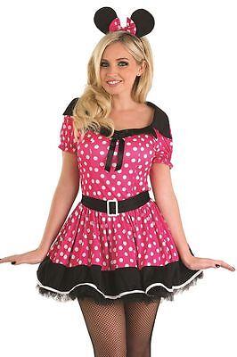 Damen Rosa Fräulein Minnie Maus Party Kostüm Outfit 8-22 - Übergröße Maus Kostüm