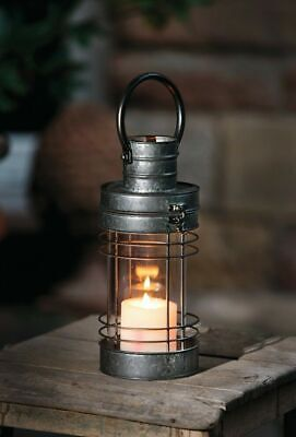 Clear Glass Metal Candle Lantern with Hanging for Outdoor/ Indoor Decor - Gray