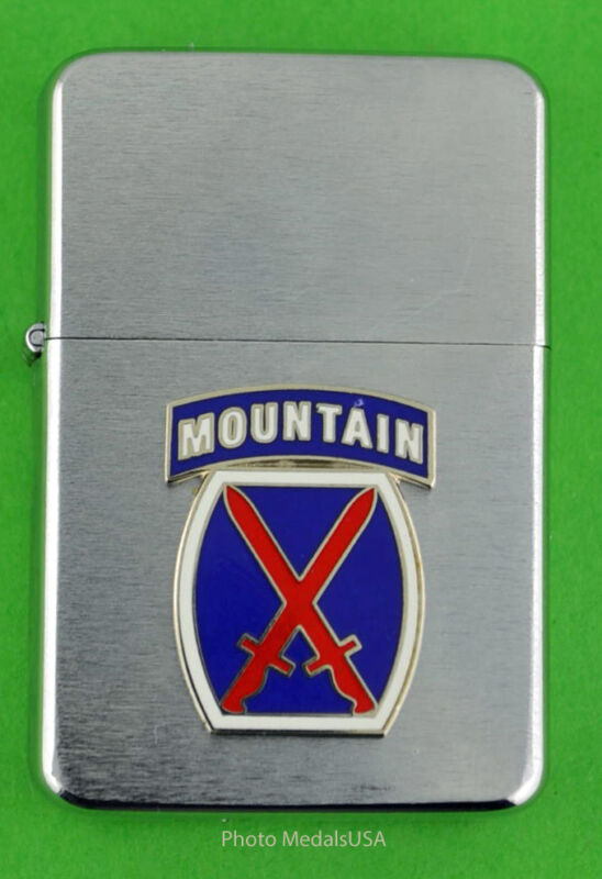 10th MOUNTAIN DIVISION ARMY WIND PROOF PREMIUM LIGHTER -  GIFT BOX  ARMY SBC091