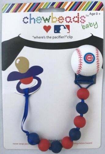 Chewbeads Baby Pacifier Clip Holder Silicone Safe Chicago Cubs MLB Baseball NEW
