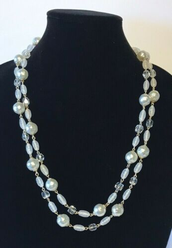 Vintage Pearl Faux Silver Tone Bead Necklace Aurora Borealis Clear Crystal Long