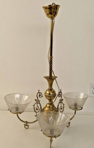 """Antique 1890""""s Brass 3 Arm Gas Chandelier Converted To Electric"""