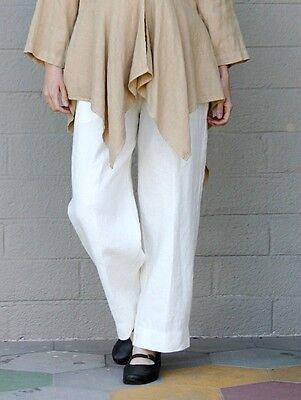 Mosaic Usa 230A Flax Linen Ankle Pant Straight Leg Slit Hem Pants S M L Xl Ivory