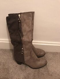 Size 6 grey heel boots
