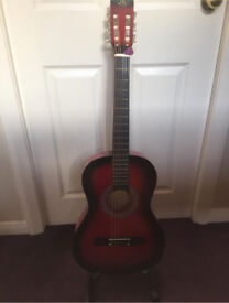 Beginners acoustic guitar and stand