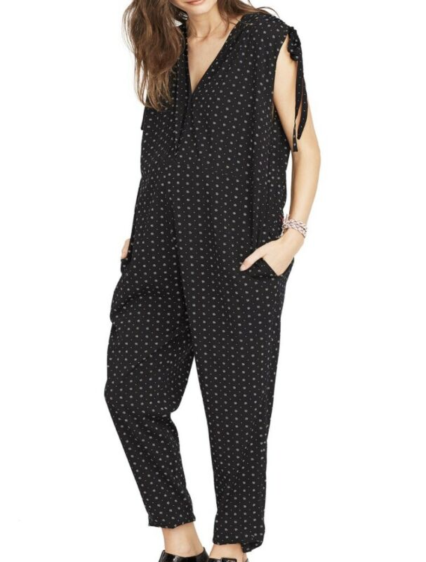 Hatch Maternity Women's THE TWILIGHT JUMPSUIT Black/Floral Size 3 (LRG/12) NEW