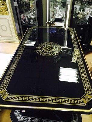 VERSACE GREAK KEY DESIGN ITALIAN COFFEE TABLE IN BLACK & GOLD