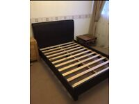 Dark brown leather double bed with or without mattress