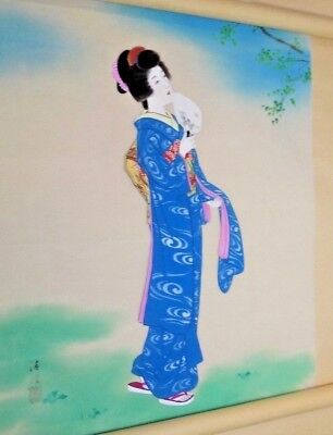 VINTAGE CHINESE WATERCOLOR SILK PAINTING