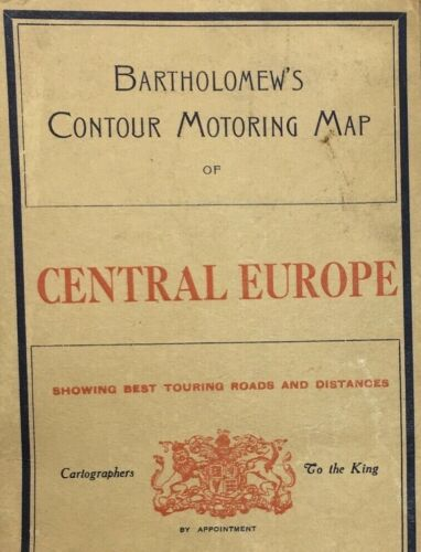 Post WWI-The Great War Bartholomews Contour Motoring Map Central Europe On Cloth