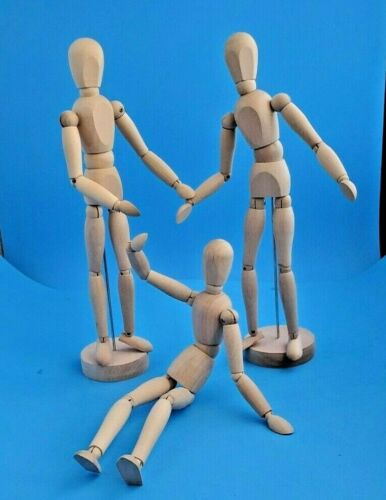 """3 SOLID WOOD ARTICULATED ARTIST MANNEQUIN 13"""" SKETCH DRAWING MODELS"""