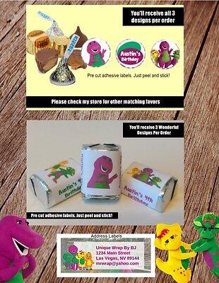 Party Address Labels - Barney & Friends Hershey Kisses Nugget Address Birthday Labels Party Label Favor