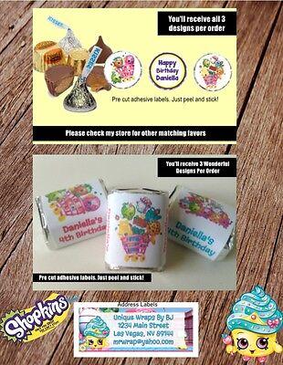 Party Address Labels - Shopkins Hershey Kisses Nugget Birthday Labels Party Label Favor Address Labels