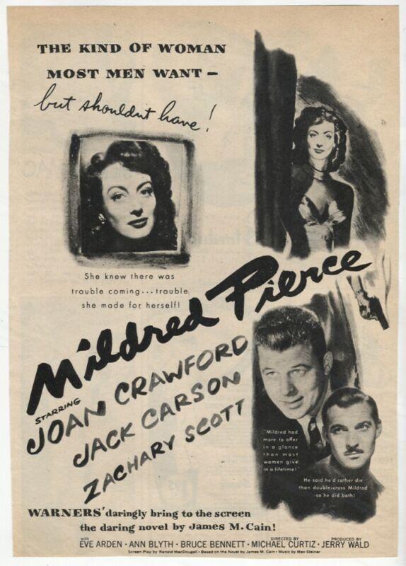 Mildred Pierce 1945 AD Joan Crawford Jack Carson Movie Magazine Vintage AD
