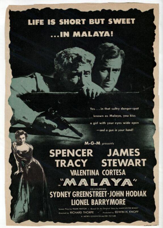 MALAYA 1949 Movie Ad Spencer Tracy James Stewart from Vtg Original Magazine