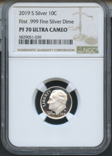 2019 S First .999 Fine Silver Dime NGC PF70 UC Brown Label