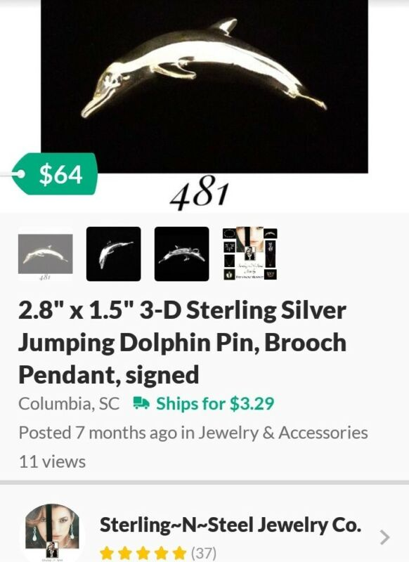 """2.8"""" x 1.5"""" 3-D Sterling Silver Jumping Dolphin Pin, Brooch Pendant, signed"""