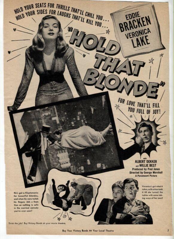 Hold That Blonde 1945 Veronica Lake Eddie Bracken Movie Magazine Vintage AD