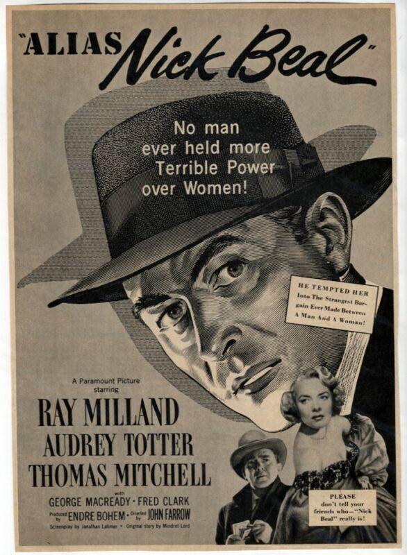 Alias Nick Beal 1949 Ray Milland Audrey Totter Film-NOIR Movie Magazine Vtg AD