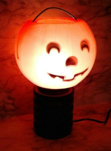 "Vntg 12"" HALLOWEEN Blow Mold Pumpkin Jack-O-Lantern Pedestal Light Decoration"