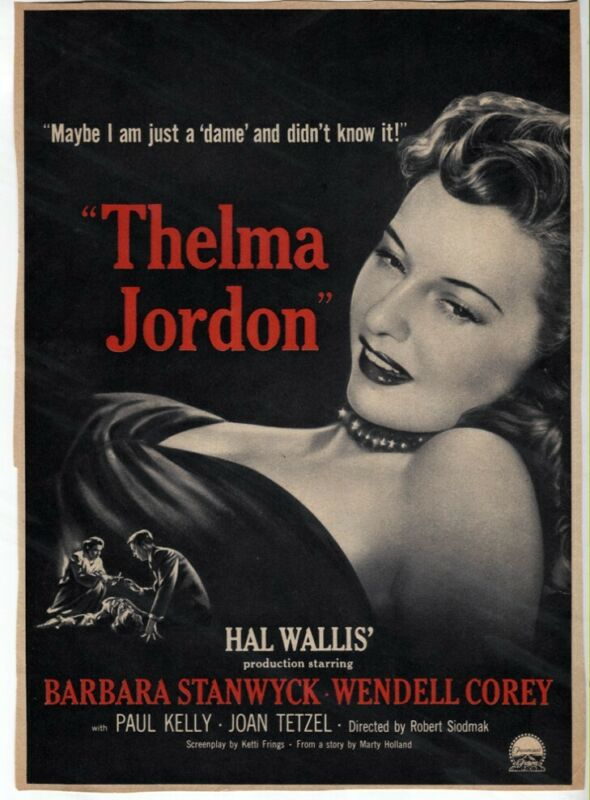 Vintage The File on Thelma Jordon 1949 Barbara Stanwyck NOIR Movie Magazine AD
