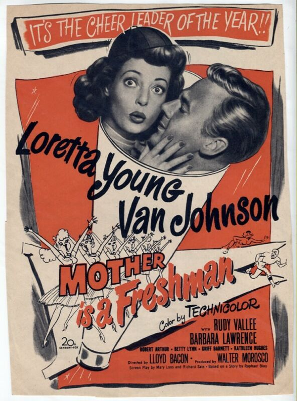 VTG Mother is a Freshman 1949 Loretta Young Van Johnson Movie Magazine Print AD