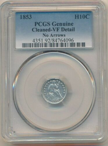 1853 SEATED LIBERTY SILVER HALF DIME-NO ARROWS-SCARCE! PCGS GRADED VF DETAILS