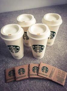 4 Pack Genuine Starbucks Reusable Travel Mug Cup Tumbler Grande Plastic
