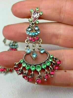 Vintage Multi Color Rhinestone 2 Inch Chandelier Clip On Earrings  Multi Color Rhinestone Earrings