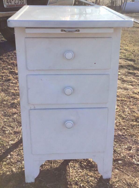 Vintage White Enamel Top Kitchen Cabinet w/ Tin Bread Box & Cutting Board Slide