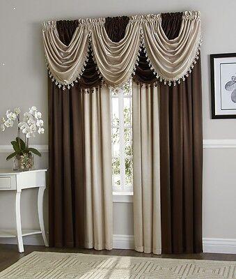 - Hyatt WINDOW TREATMENT, Royal Velvet,set of 4 Panel & 5 valance ex wide