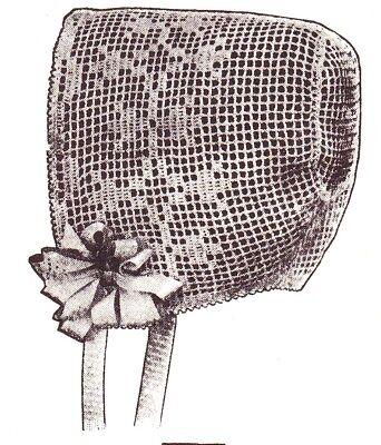 - VINTAGE Filet Baby Bonnet/Crochet Pattern INSTRUCTIONS ONLY