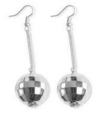 Novelty Ladys Silver Dance Disco Ball 1970 80s Earrings Fancy Dress - Disco Ball Fancy Dress Kostüm