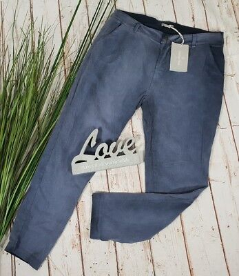 NEU ITALY VINTAGE CHILLOUT  CHINO HOSE PANTS WASHED LOOK SMOKEY BLUE M 40 42 Vintage Washed Chino