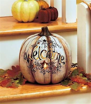 LED LIGHTED WELCOME TABLETOP PUMPKIN HARVEST HALLOWEEN FALL HOME DECOR