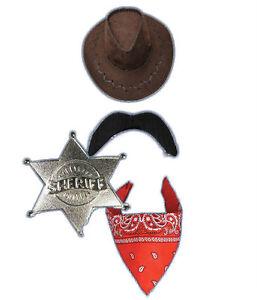 Sheriff Fancy Dress Kit Hat Tash Bandana Badge Rick Grimes Western Walking Dead