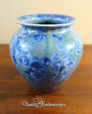 Dover Pottery Spectacular Blue Crystalline Glaze Vase Seagrove North Carolina