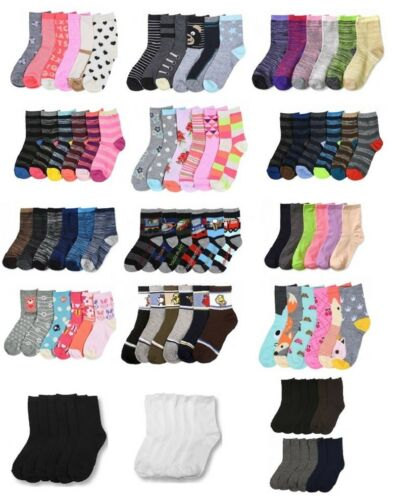 12 Pairs Girls Boys Kids Crew Socks Toddler Baby Casual Ankle Wholesale Lot NWT