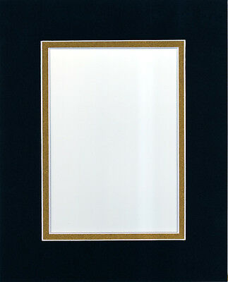 Pack of 10 16x20 Black/Gold Picture Double Mat for 11x14 Photo + Backing + Bags