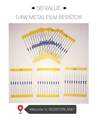50value 1000pcs 14w Metal Film Resistor Assortment Kit Spring Sale