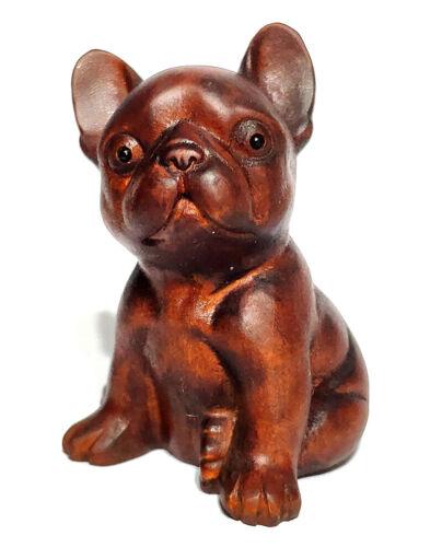 "CQ096 - 2"" Hand Carved Boxwood Netsuke Carving Figurine: Bulldog Dog"