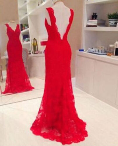 Long Evening Ball Prom Gown Formal Bridesmaid Cocktail Party Lace Dress Red