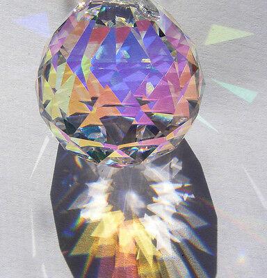30mm ASFOUR Aurora Borealis German CRYSTAL faceted  AB PRISM ball Suncatcher!
