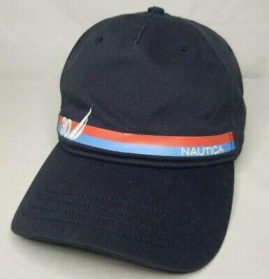 Nautica Sailing 30 Navy Blue w/ Red & Blue Stripe 100% Cotton Adjustable Cap