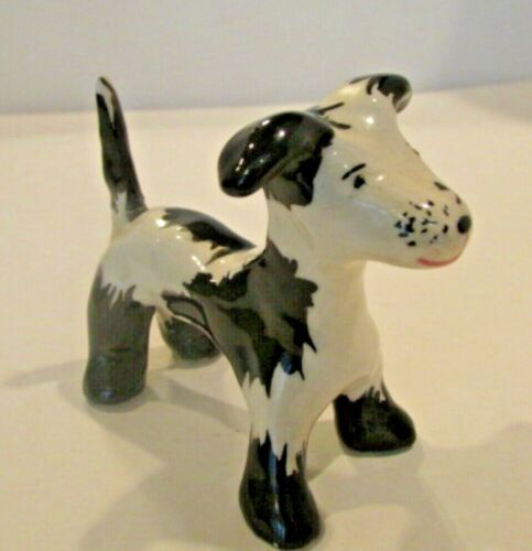 Black and White Terrier Figurine
