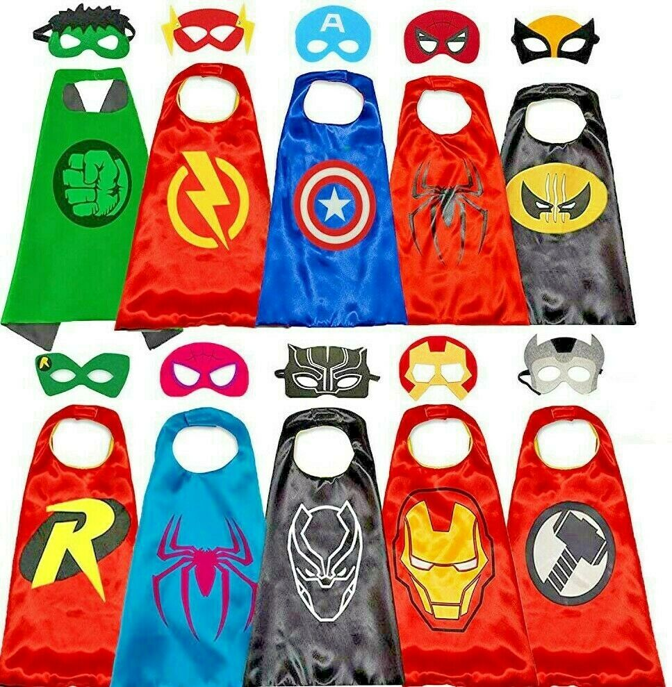 Superhero Capes with Masks Costumes for Kids Boys Girls Dres